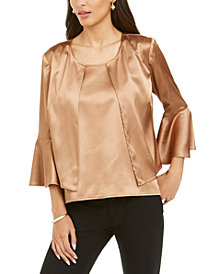 28th & Park Satin Bell-Sleeve Jacket & Top, Created For Macy's