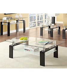 Haven Tempered Glass Coffee Table with Shelf