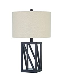 Ames Table Lamp with Geometric Base And Drum Shade