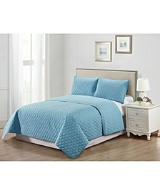 Casual Living Solid Color Tile Stitch 3 Piece Quilt Collection