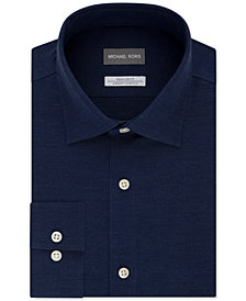 Michael Kors Men's Classic/Regular-Fit Non-Iron Airsoft Performance Stretch Herringbone Dress Shirt