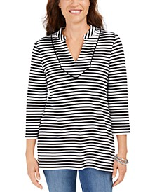 Striped 3/4-Sleeve Top, Created for Macy's