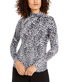 Leopard-Print Twist-Neck Top
