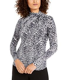 Leopard-Print Twist-Neck Top