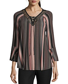 John Paul Richard Striped Lace-Trim Top