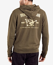 Men's Gold Double Puff Metallic Logo-Print Hoodie