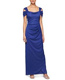Cold-Shoulder Draped Metallic Gown Regular & Petite Sizes