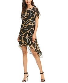 Chain Print Chiffon Overlay Dress