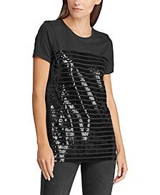 Sequined Cotton-Blend T-Shirt