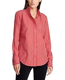 Ruffle-Trim Striped Shirt
