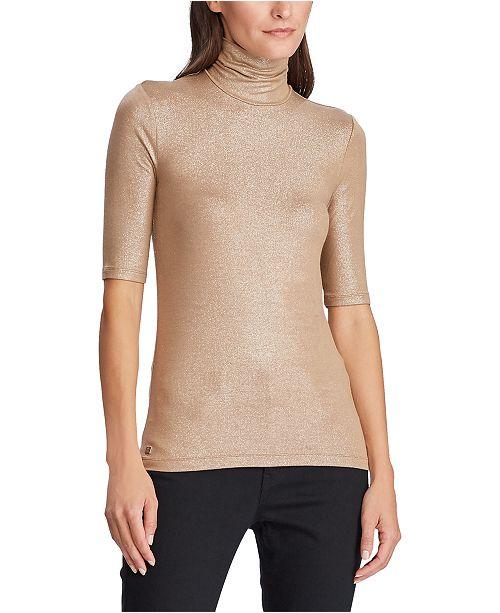 Lauren Ralph Lauren Shimmer Stretch Turtleneck Top