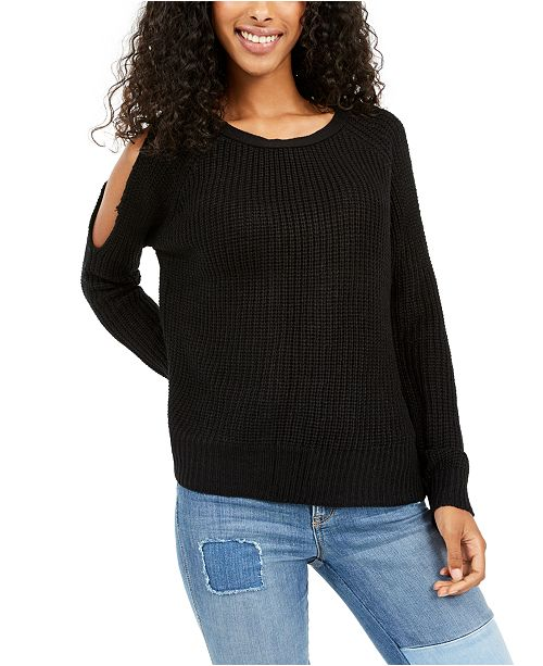 No Comment Juniors' Cold-Shoulder Open-Back Sweater