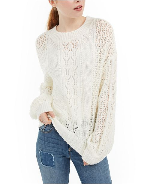 No Comment Juniors' Striped Balloon-Sleeve Sweater