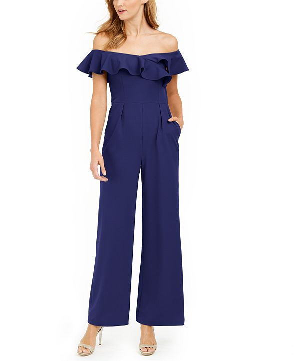 Calvin Klein Ruffled Off-The-Shoulder Jumpsuit
