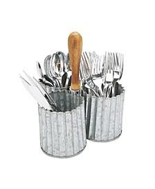 Galvanized 3 Section Utensil Holder, Cutlery Holder, Flatware Organizer