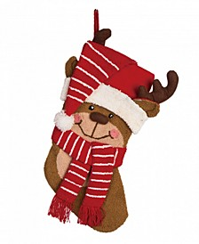 "19"" L Hooked 3D Reindeer Stocking"