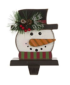 "6.50"" H Wooden Snowman Head Stocking Holder"