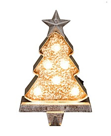"7.50"" H Marquee LED Wooden Christmas Tree Stocking Holder"