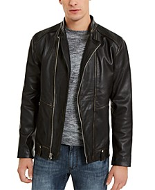 I.N.C. Men's ONYX Leather Moto Jacket, Created For Macy's
