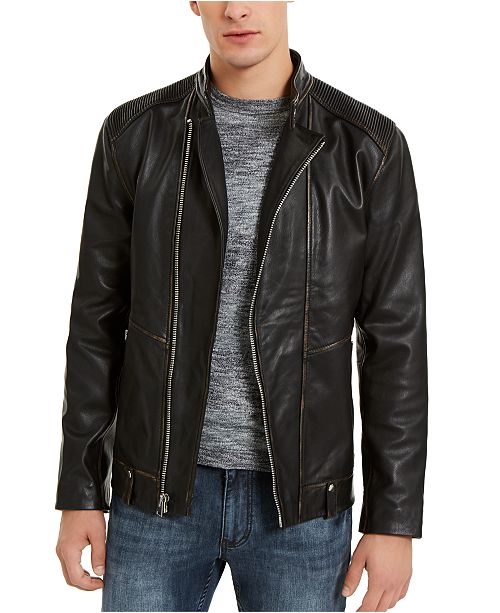 INC International Concepts I.N.C. Men's ONYX Leather Moto Jacket, Created For Macy's