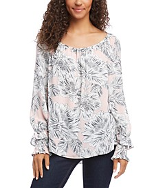 Floral-Print Smocked-Sleeve Top