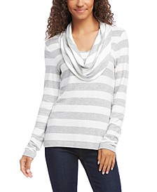 Striped Cowlneck Top