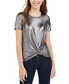 Juniors' Metallic Twist-Front Top