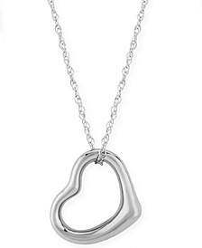 Open Heart Necklace Set in 14k White, Yellow or Rose Gold