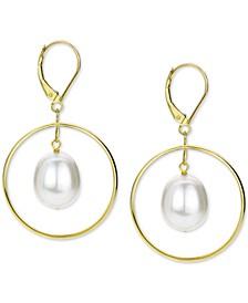 Cultured Freshwater Pearl (11mm) Orbital Drop Earrings in 14k Gold
