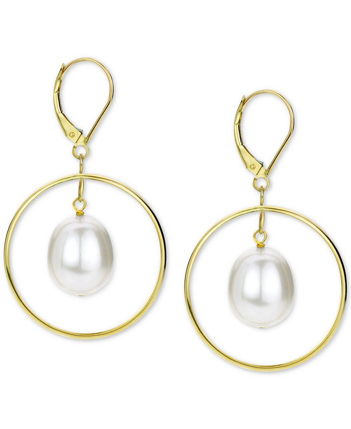 Macy's - Cultured Freshwater Pearl (11mm) Orbital Drop Earrings in 14k Gold