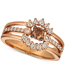 Creme Brulee® Diamond Halo Three-Row Ring (5/8 ct. t.w.) in 14k Rose Gold
