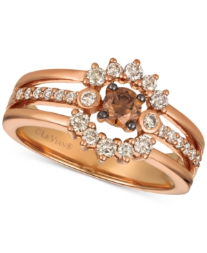 Creme Brulee Diamond Halo Three-Row Ring (5/8 ct. t.w.) in 14k Rose Gold