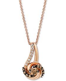 "Petite Diamond Swirl 18"" Pendant Necklace (1/3 ct. t.w.) in 14k Rose Gold"
