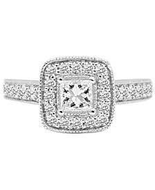 Diamond Princess Halo Engagement Ring (1-1/2 ct. t.w.) in 14k White Gold
