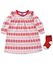 Baby Girls 2-Pc. Fair Isle-Print Nightgown & Socks Set
