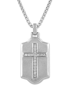 "Men's Diamond Cross 22"" Pendant Necklace (1/4 ct. t.w.) in Sterling Silver"