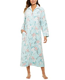 Women's French Fleece Printed Long Zipper Robe
