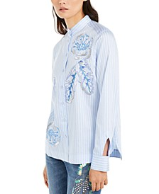 Beaded & Embroidered Cotton Button-Up Shirt