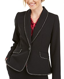 Petite Chain-Trim One-Button Blazer
