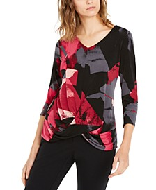 Printed Draped 3/4-Sleeve Top, Created For Macy's