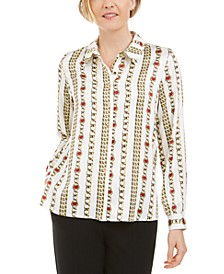 Petite Chain-Print Collared Button-Up Blouse