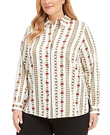 Plus Size Chain-Link Satin Button-Up Shirt