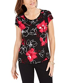 Floral Printed Cowlneck Top