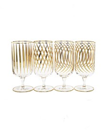Set of 4 Mix and Match Liquor Glasses with 24K Gold Design