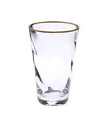 Set of 6 Wavy Glass Water Tumblers with Gold-Tone Rim