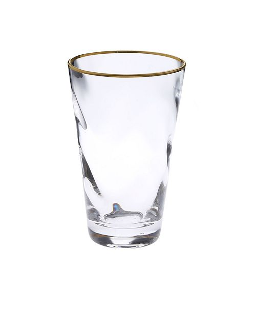 Classic Touch Set of 6 Wavy Glass Water Tumblers with Gold-Tone Rim