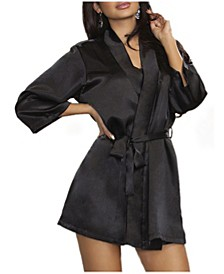 Women's Lila Satin Wrap Robe, Online Only