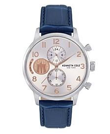 Men's Blue Genuine Leather Strap Watch, 44mm