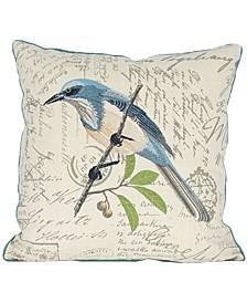 "Avian Bird Emboridery Pillow Collection, 18"" x 18"""