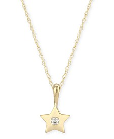 Diamond Accent Solid Star Pendant in 14K Yellow Gold